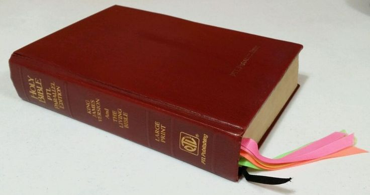 PTL PARALLEL BIBLE 1983 KJV / Living Bible Large Print Padded HB First Printing
