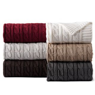 @Overstock - Cable Knitted Throw - Stay warm with this uber chic cable knitted throw blanket featuring a beautiful knitted design. This uniquely crafted throw comes in burgundy, chocolate, dark grey, ivory, light grey and taupe for your convenience.  http://www.overstock.com/Bedding-Bath/Cable-Knitted-Throw/9603375/product.html?CID=214117 $39.99