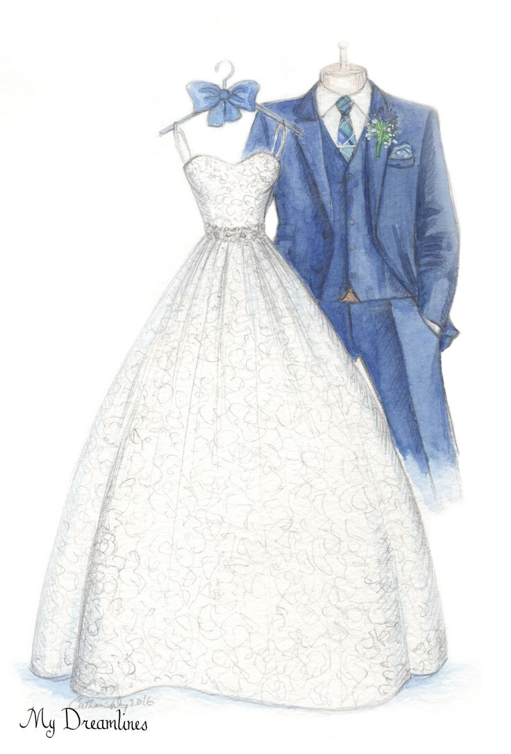 Dreamlines wedding dress sketch given as a