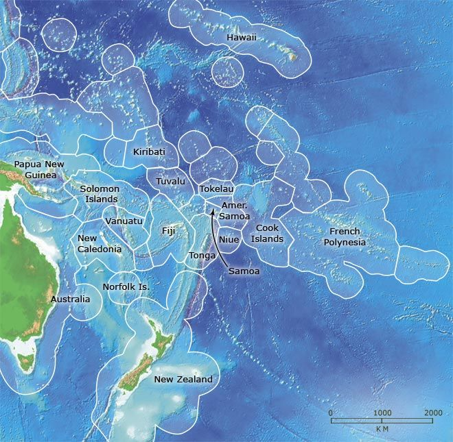 Pacific Island Exclusive Economic Zones