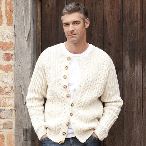 Free Knitting Pattern Mens Aran Cardigan : Classic Aran Cardigan mens knit patterns Pinterest