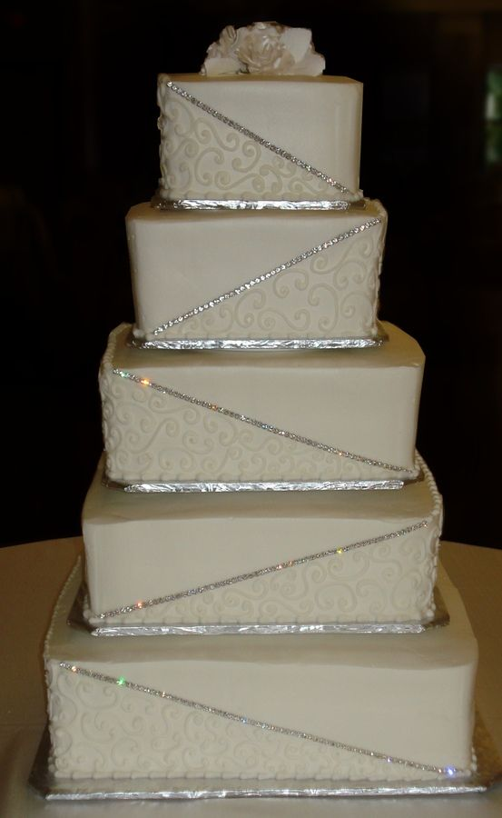 buttercream square wedding cake designs | rhinestone swirls buttercream all buttercream base and design ...
