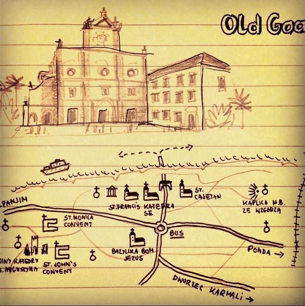 Old Goa. Szkic, mapa. Więcej fot: http://gdziewyjechac.pl/30942/stare-goa-portugalsko-indyjski-skarb-listy-unesco.html