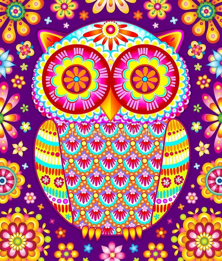 Colorful Owl Art by Thaneeya McArdle
