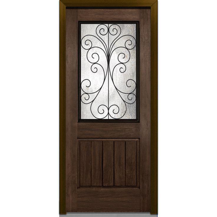 Camelia 1 2 lite 1 panel planked plastpro fiberglass for Rustic exterior doors