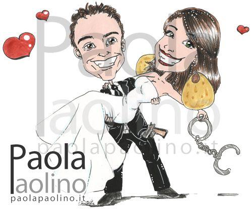 Una caricatura di uno sposo poliziotto, con manette e pistola, e della sposa artigiana di magnifici orecchini e accessori alla moda. www.paolapaolino.it #caricaturista #ritrattista #illustrazione #arte #matrimonio