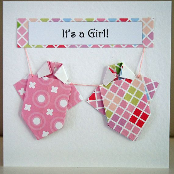 It's a Girl Origami Onesie Card