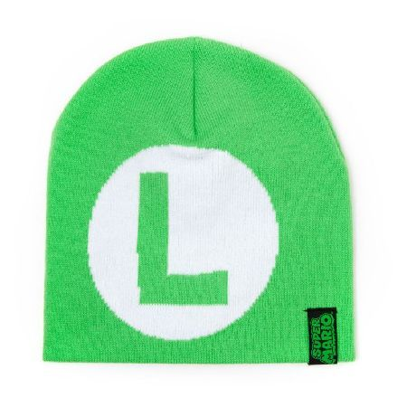 NINTENDO Super Mario Bros. Luigi Symbol Logo This woven beanie hat is made from 100% acrylic material which makes it soft and lightweight to wear