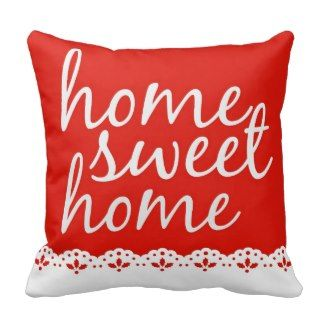 Red Decorative Throw Pillows | Pretty Throw Pillows | Red Home Sweet Home Typography pillow #decorativethrowpillows #redthrowpillows