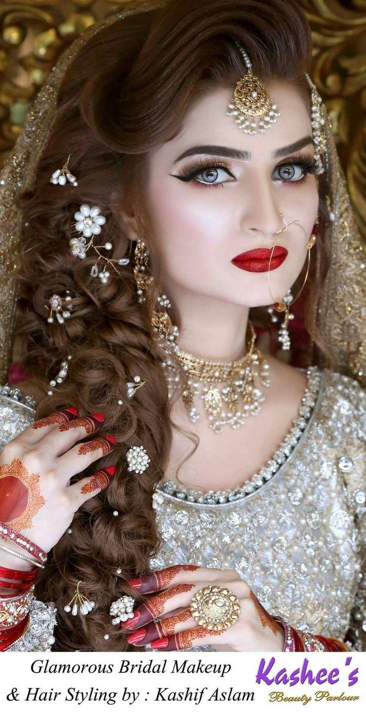 Brautfrisur-Pakistani 2019   Braut Haar in 2019   Bridal hairstyle indian wedding, Bride makeup ...