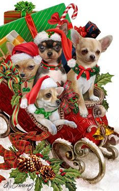 """New for 2012! Chihuahua Christmas Holiday Cards are 8 1/2"""" x 5 1/2"""" and come in packages of 12 cards. One design per package. All designs include envelopes, your personal message, and choice of greeting. Select the inside greeting of your choice from the menu below.Add your custom personal message to the Comments box during checkout."""