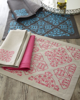 Lili Alessandra   Embroidered Linen Napkins & Place Mats