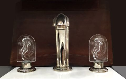 THG Paris Naiade Faucet Set with engraved Lalique crystal handles.  #HardwareDesigns #NewJersey