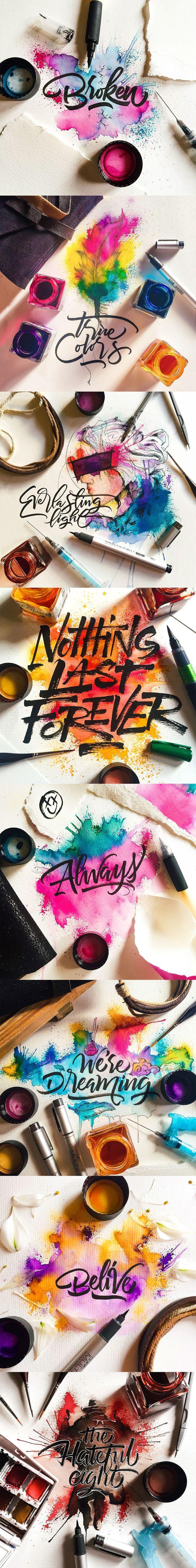 GOORGEOUS LETTERS... Watercolor / Calligraphy on Student Show #letteringdesign #letteringdesignideas