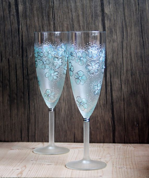 Mint Fl Design Hand Painted Wedding Champagne Flutes Set Of 2 Smoked Opal Swarovski Crystals