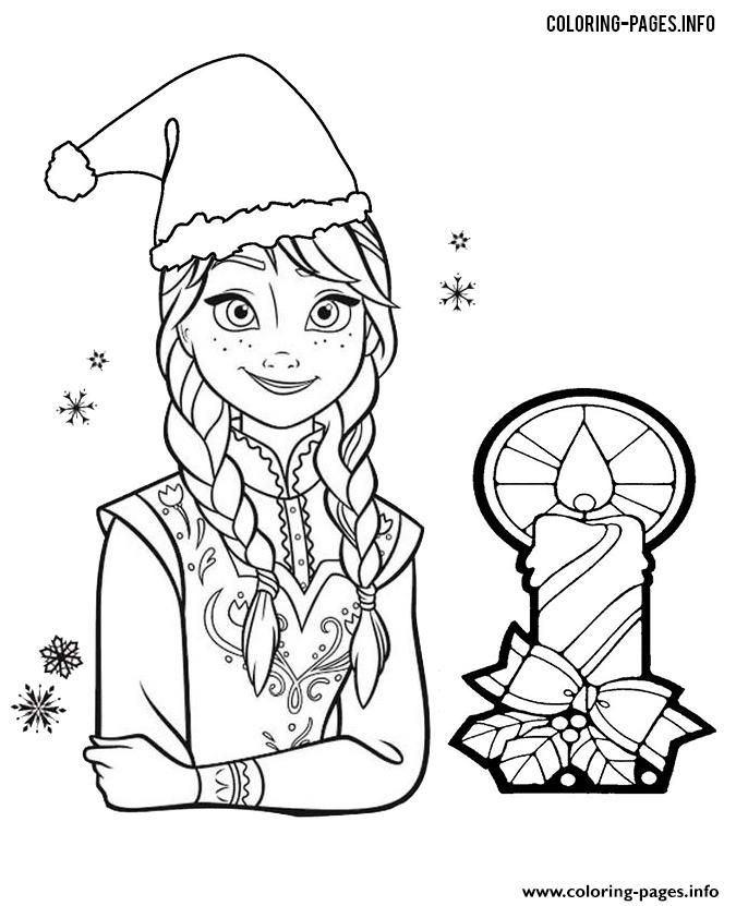 Princess Anna Frozen Christmas Coloring Pages Printable And Book To Print For Free Find More Online Kids Adults Of