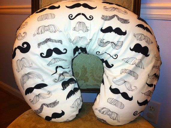 I like the idea of gray/white fabrics, don't have to be the same....Mustache Boppy Pillow Cover by ThreeTinyMonkeys on Etsy, $22.00