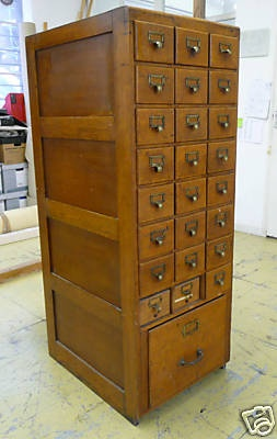 vintage file cabinet/card catalog 3 X 8 plus large file drawer. Love this!
