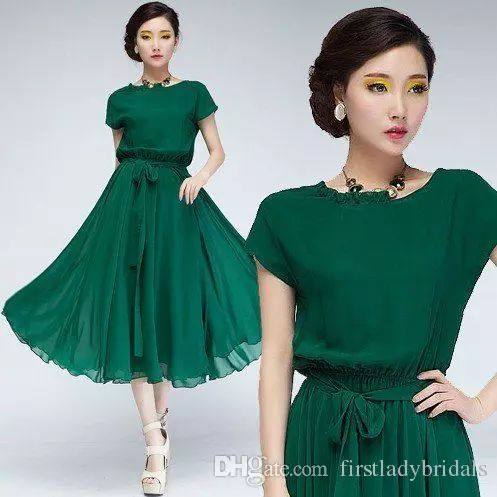 Emerald Green Party Dresses 2016 Tea Length Crew Neck Capped Sleeves Graduation Gowns Chiffon Cheap Discount Homecoming Dress For Girls Perfect Party Dress Petite Party Dress From Firstladybridals, $61.56| Dhgate.Com