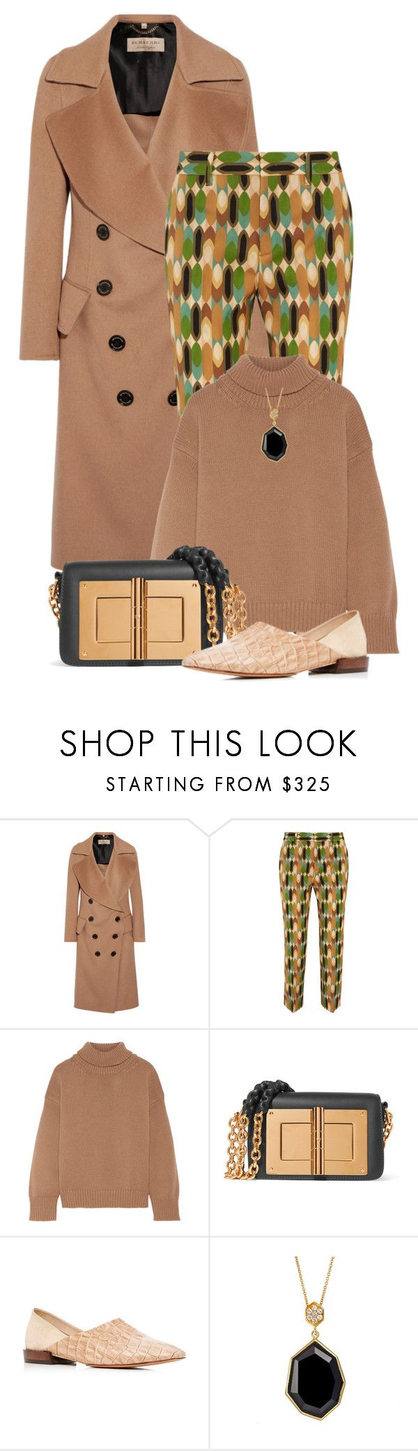 """Burberry Coat Outfit Only"" by shamrockclover ❤ liked on Polyvore featuring Burberry, Prada, Mansur Gavriel, Tom Ford, Mari Giudicelli and SOPHIE MILLER"