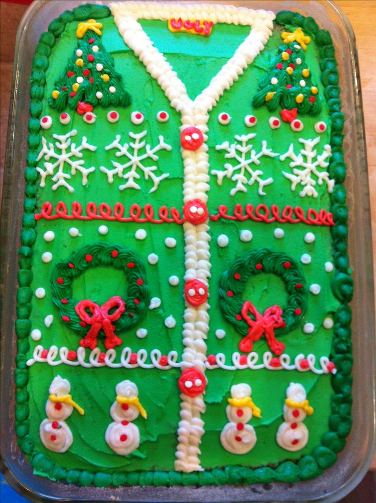 The ugly Christmas sweater cake I made for our Christmas party.