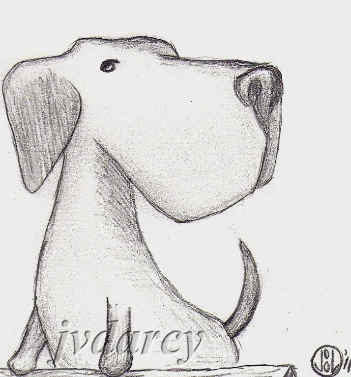 **drawings of dogs | Axel - Dog Labrador Retriever Original Small Pencil Cartoon Drawing
