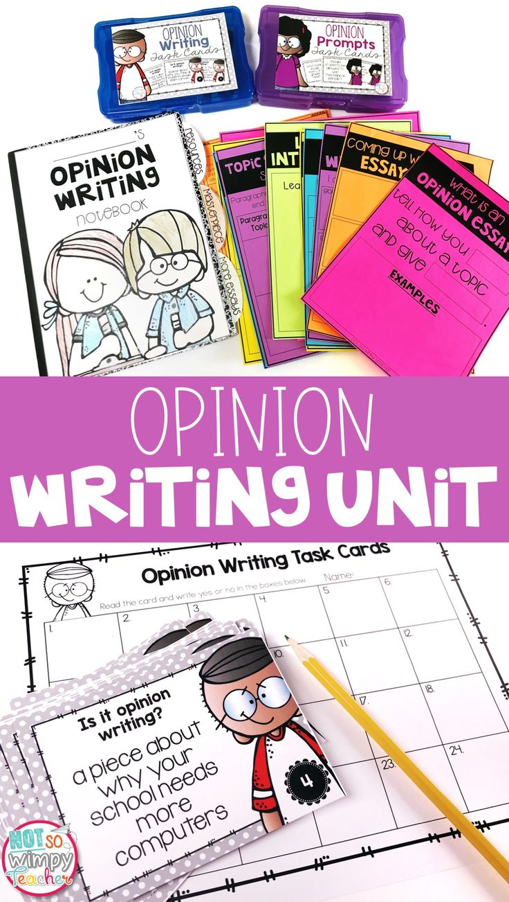 This opinion writing unit includes everything you need to teach opinion or persuasive writing: lesson plans, mentor text passages, anchor charts, task cards, rubrics and more!