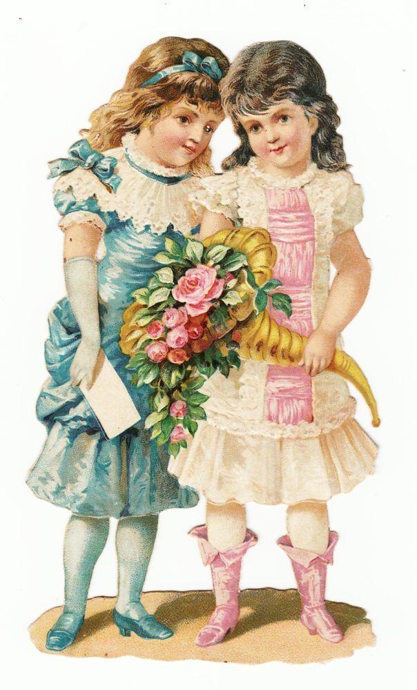 Oblaten Glanzbild  scrap die cut chromo / zwei Mädchen mit Blumenhorn: