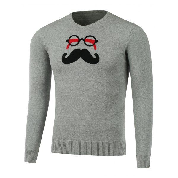 17.71$  Buy now - http://di68u.justgood.pw/go.php?t=207567301 - V Neck Glasses Beard Patch Knitwear