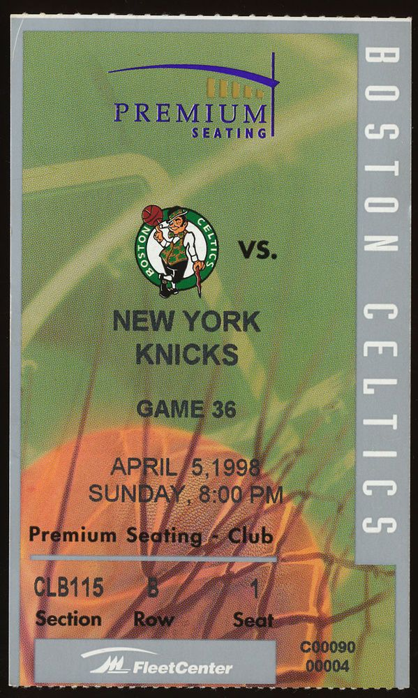 4/5/1998 New York Knicks @ Boston Celtics NBA Ticket Stub