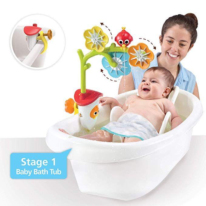 Yookidoo Baby Bathtub Mobile Spinning Flowers And Swiveling Fountain For Newborn Bathtime Sensory Development Baby Bath Tub Baby Tub Best Baby Tub