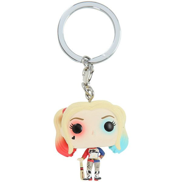 Funko Suicide Squad Harley Quinn Pocket POP! Key Chain Hot Topic ($15) ❤ liked on Polyvore featuring accessories, mini key ring, key chain rings, mini key chain, keychain key ring and funko