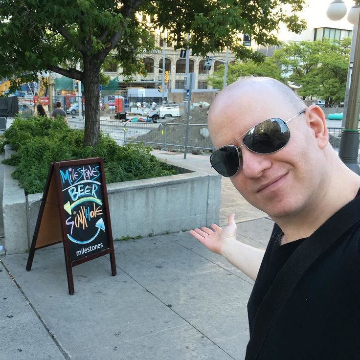 #Ottawa Thurs June 16: Walking to the singles @meetup I passed the famous Ottawa sinkhole. I know it was that because of the funny @milestonesrestaurants sign saying beer this way sinkhole that way. I should get a job writing the signs at Milestones. They'd love my wit! #beer #sinkhole #bar #restaurant #funny #copywriter #travel #tourism #travelblogger #lifestyleblogger #entrepreneur #lifestyle #comedian #youtuber