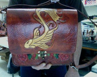 Purse / Bag / Women / Messenger Bag / Woman / Hand Made / Hand Carved and Tooled / Leather / Koi Fish / Flowers /  Custom / Messenger Bag