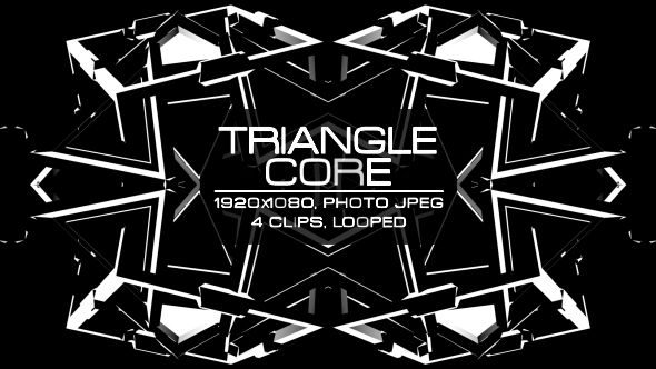 Triangle Core Video Animation | 4 clips | Full HD 1920×1080 | Looped | Photo JPEG | Can use for VJ, club, music perfomance, party, concert, presentation | #black #dance #disco #edm #fast #loop #monochrome #music #party #rave #spinning #triangle #tunnel #vj #white