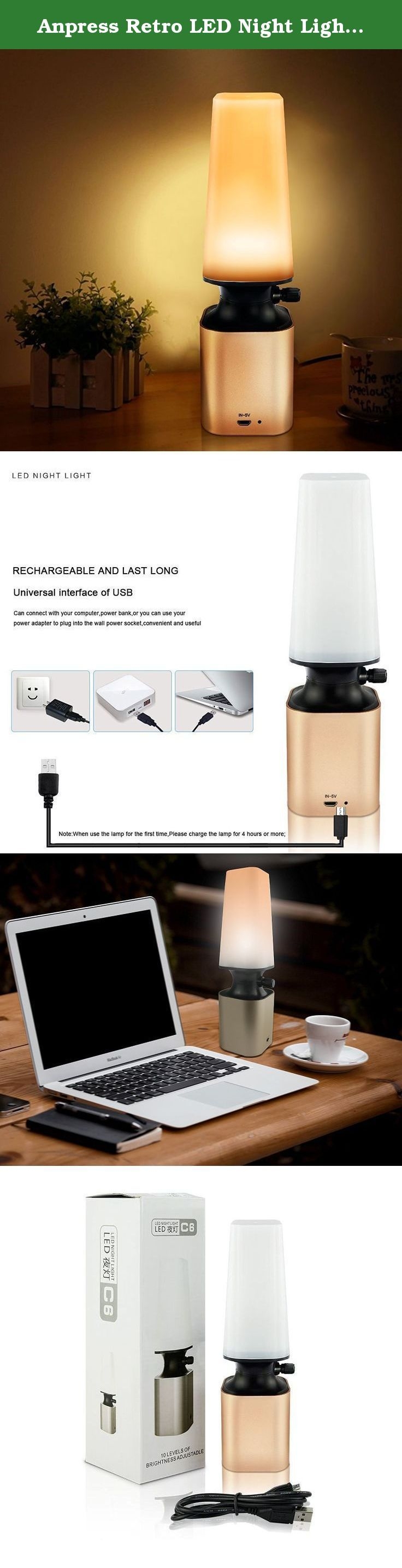 Anpress Retro LED Night Light Imitate Kerosene Oil Lamp Design with 10-Level Dimmer Control Knob Eye Care LED Desk Light USB Rechargeable Lamp for Reading/Home/Working/Office/Study. Features: ★ Rechargeable, Wireless & Portable ★ Flexible Power Supplies: PC, Power Bank, Mobile Adapter, etc. ★ Compact One-key Design, 10-Level Dimmer Control Knob ★ Eye-caring, no ghosting, anti-glaring & non-flickering ★ Energy-Saving, Eco-friendly, Mercury free & Radiation free ★ Long Working Time…