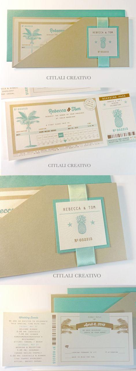 Boarding Pass Wedding Invitations in Ticket Sleeve