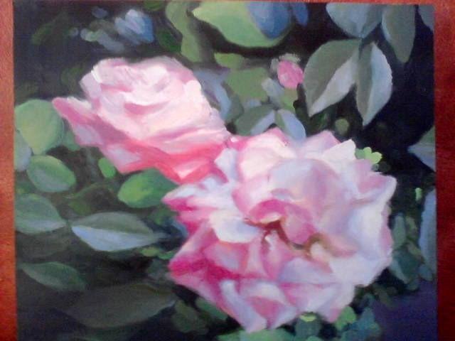 Roses, oil on wood, Benjamin