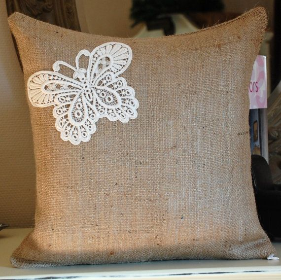 burlap pillows with lace