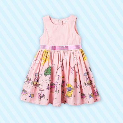 Pumpkin Patch Lemonade Stand Print Dress - available in sizes 12-18m to 6 years http://www.pumpkinpatchkids.com/