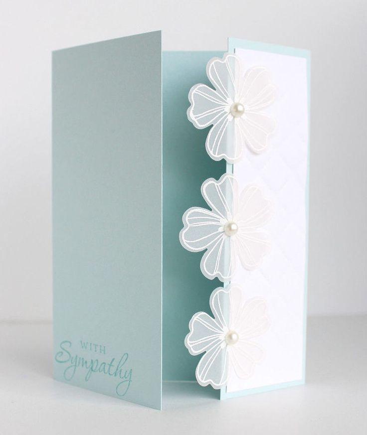 Handmade Stampin Up Sympathy Card Kit - off-center gate fold, vellum flowers #Handmade #ImSorry