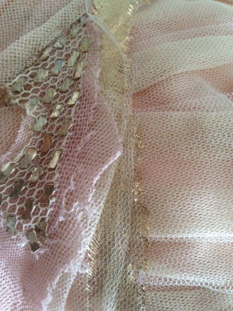 Antique Egyptian tulle-bi-telli detail on Leigh's gown. #Dimity #EcoBride #EcoChicWeddings