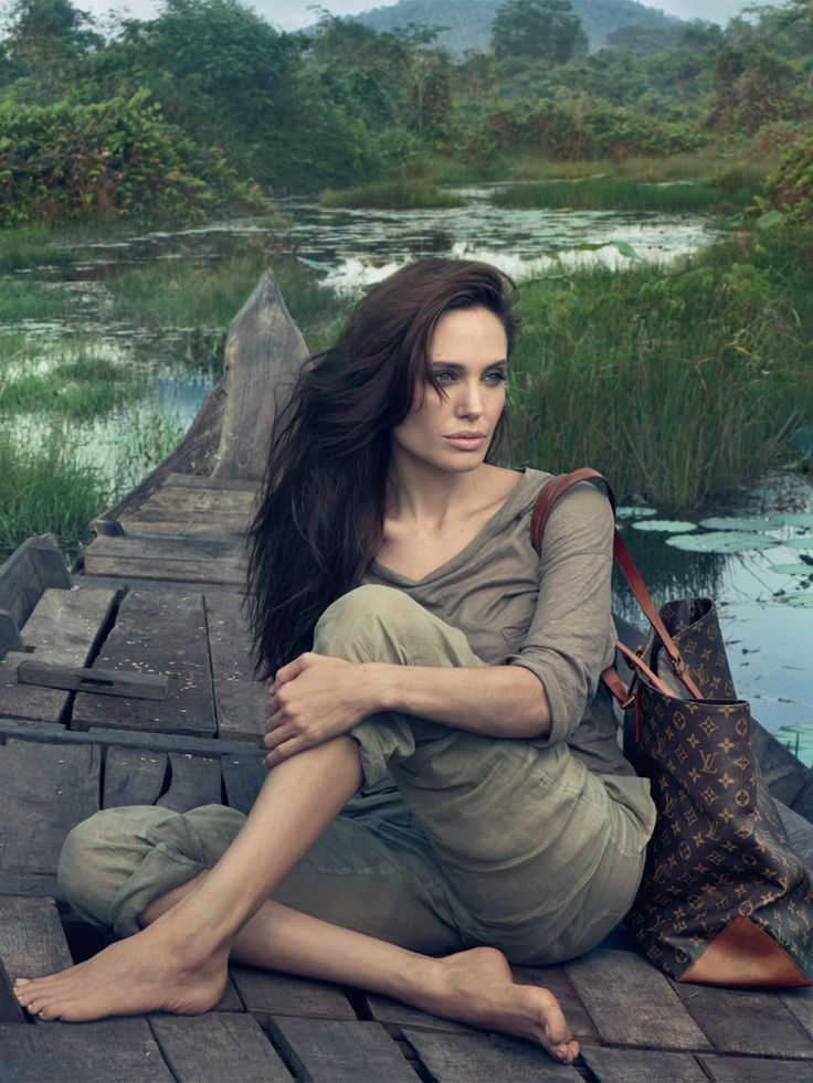 angelina jolie louis vuitton campaign linen cargo pants and dark layered hair in cambodia