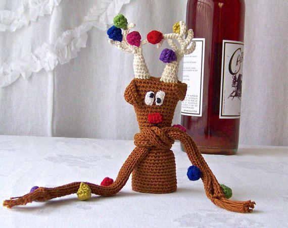 Vintage Wine Bottle Cozy Reindeer Wine Cap Cover by CynthiasAttic
