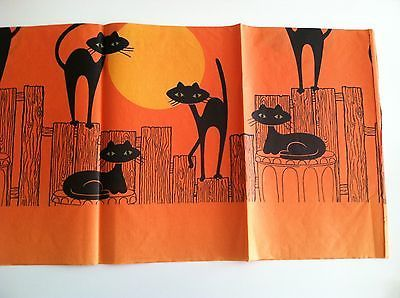 Vintage-Halloween-Black-Cats-Crepe-Paper-Tablecloth-Decoration-Unused-NIP-Decor