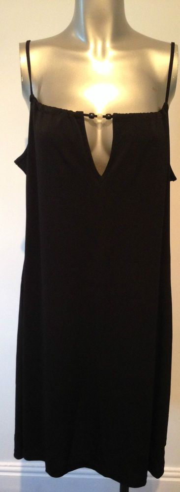 New Black Beach Dress 16 - 18  Swimwear Cover Up Strappy Dress Beachwear Sexy