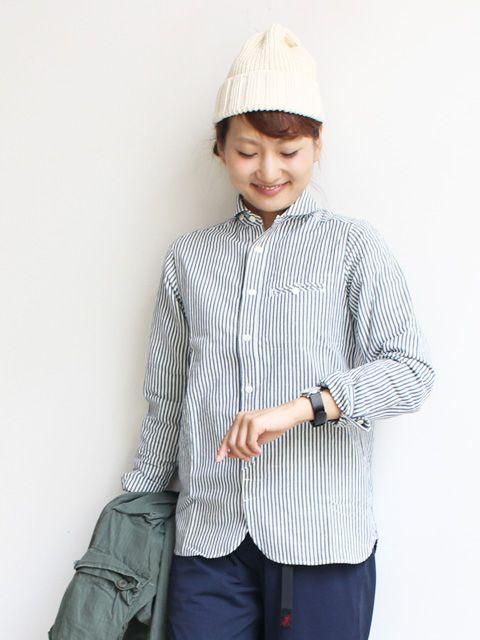 maillot(マイヨ)サンセットストライプラウンドワークシャツ MAS-004S