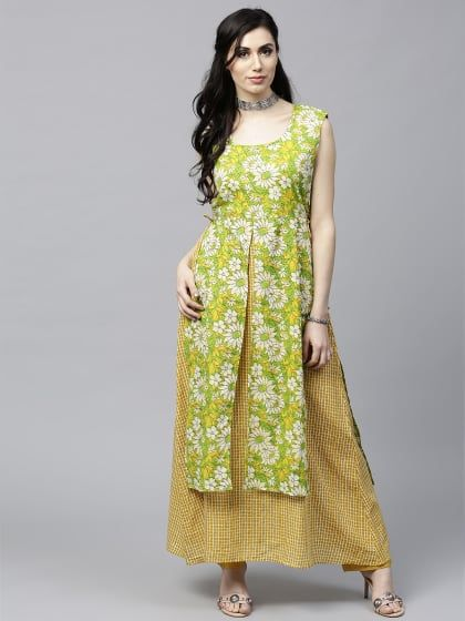 5cea5903e Yellow   Green Floral Printed Double Layered Kurta
