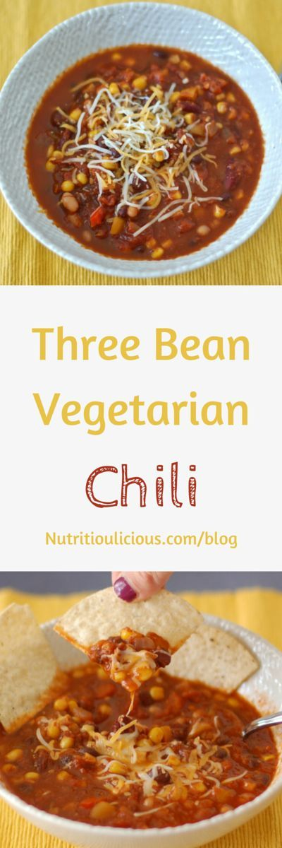 This gluten-free and dairy-free Three Bean Vegetarian Chili is filled with protein- and fiber-rich beans, vitamin C-rich vegetables, and antioxidant-rich herbs and spices. It will warm you up and nourish you throughout the cold days of winter. @jlevinsonRD (AD)