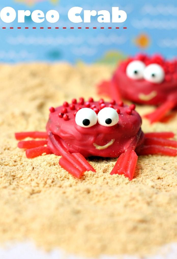 How To Make Oreo Crabs with Pull N' Peel Twizzler legs ~ cute for a Beach Party, Mermaid or Under The Sea themed party
